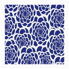 Blue And White Flower Background Medium Glasses Cloth (2 Side)