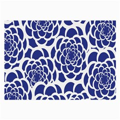 Blue And White Flower Background Large Glasses Cloth
