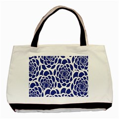 Blue And White Flower Background Basic Tote Bag (Two Sides)