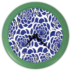 Blue And White Flower Background Color Wall Clocks