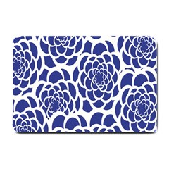 Blue And White Flower Background Small Doormat