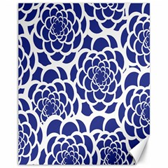 Blue And White Flower Background Canvas 11  X 14