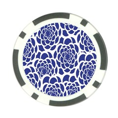 Blue And White Flower Background Poker Chip Card Guard