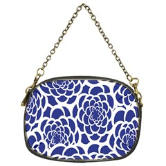 Blue And White Flower Background Chain Purses (one Side)