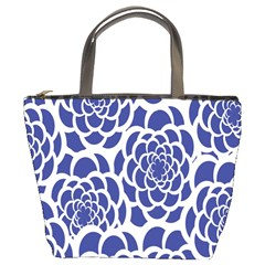 Blue And White Flower Background Bucket Bags