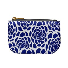 Blue And White Flower Background Mini Coin Purses
