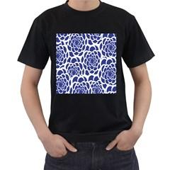 Blue And White Flower Background Men s T-Shirt (Black)