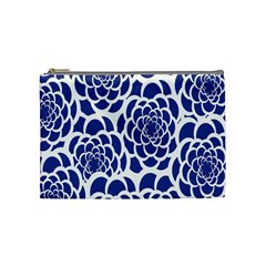 Blue And White Flower Background Cosmetic Bag (medium)