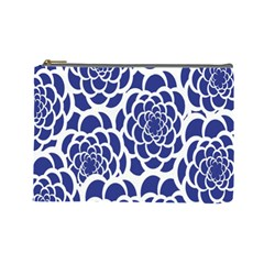 Blue And White Flower Background Cosmetic Bag (large)