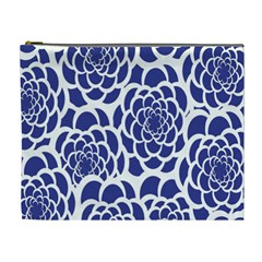 Blue And White Flower Background Cosmetic Bag (XL)