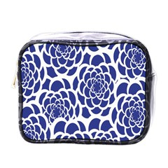 Blue And White Flower Background Mini Toiletries Bags