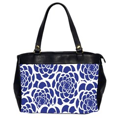 Blue And White Flower Background Office Handbags (2 Sides)