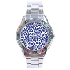 Blue And White Flower Background Stainless Steel Analogue Watch