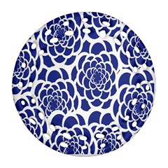 Blue And White Flower Background Ornament (Round Filigree)