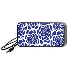 Blue And White Flower Background Portable Speaker (Black)