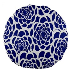 Blue And White Flower Background Large 18  Premium Round Cushions