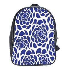 Blue And White Flower Background School Bags (xl)