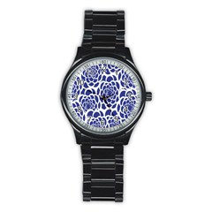 Blue And White Flower Background Stainless Steel Round Watch