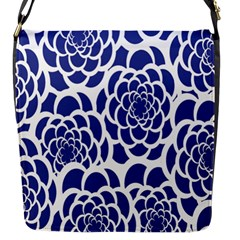 Blue And White Flower Background Flap Messenger Bag (s)