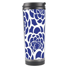 Blue And White Flower Background Travel Tumbler