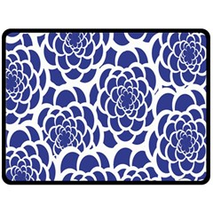 Blue And White Flower Background Double Sided Fleece Blanket (Large)