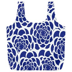 Blue And White Flower Background Full Print Recycle Bags (L)