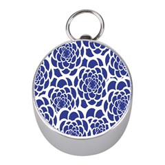 Blue And White Flower Background Mini Silver Compasses