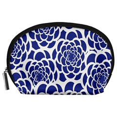 Blue And White Flower Background Accessory Pouches (large)