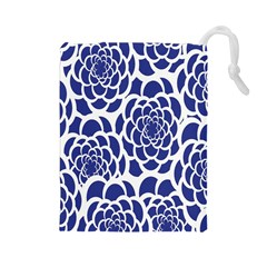 Blue And White Flower Background Drawstring Pouches (large)