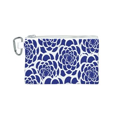 Blue And White Flower Background Canvas Cosmetic Bag (s)