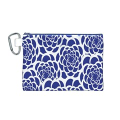 Blue And White Flower Background Canvas Cosmetic Bag (M)