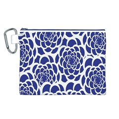 Blue And White Flower Background Canvas Cosmetic Bag (L)