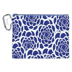 Blue And White Flower Background Canvas Cosmetic Bag (XXL)