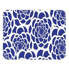 Blue And White Flower Background Double Sided Flano Blanket (Large)