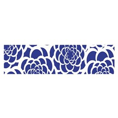 Blue And White Flower Background Satin Scarf (Oblong)