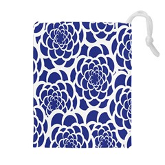 Blue And White Flower Background Drawstring Pouches (Extra Large)