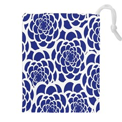 Blue And White Flower Background Drawstring Pouches (xxl)