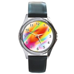 Blur Color Colorful Background Round Metal Watch