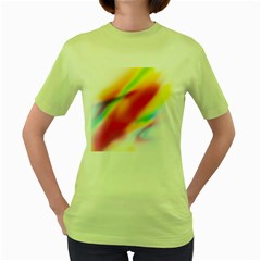 Blur Color Colorful Background Women s Green T-Shirt