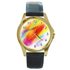 Blur Color Colorful Background Round Gold Metal Watch