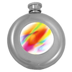 Blur Color Colorful Background Round Hip Flask (5 Oz)