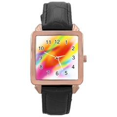Blur Color Colorful Background Rose Gold Leather Watch