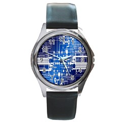Board Circuits Trace Control Center Round Metal Watch