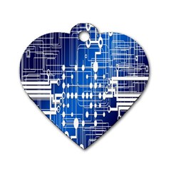 Board Circuits Trace Control Center Dog Tag Heart (Two Sides)