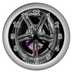 Bord Edge Wheel Tire Black Car Wall Clocks (Silver)