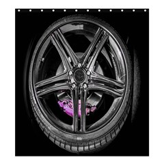 Bord Edge Wheel Tire Black Car Shower Curtain 66  x 72  (Large)