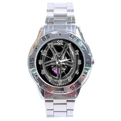 Bord Edge Wheel Tire Black Car Stainless Steel Analogue Watch