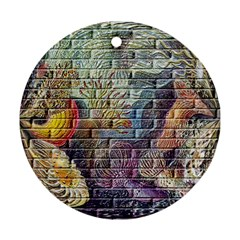 Brick Of Walls With Color Patterns Ornament (Round)