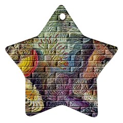 Brick Of Walls With Color Patterns Ornament (Star)