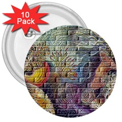 Brick Of Walls With Color Patterns 3  Buttons (10 pack)